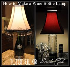 Lavender Clouds: How to Make a Wine Bottle Lamp-Photo Tutorial- great follow along photos and seems easy and beautiful