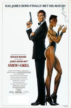 A VIEW TO A KILL 1985 Roger Moore, Grace Jones, James Bond ADVANCE MOVIE POSTER