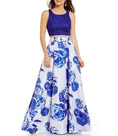 Sequin Hearts Solid Open-Back Lace Top to Floral Two-Piece Long Dress $139