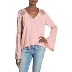 Band of Gypsies Bell Sleeve Peasant Blouse ($48) ❤ liked on Polyvore featuring tops, blouses, pink, boho peasant tops, pink peasant top, bohemian tops, boho peasant blouse and boho tops