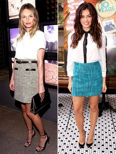 Tweed pencil skirts don't have to be super-snoozy. Kate Bosworth and Jenna Dewan-Tatum give theirs a cute and classy update. http://www.peoplestylewatch.com/people/stylewatch/gallery/0,,20580099,00.html#