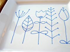 make your own porcelain using a porcelain pen...would be fun as a hostess gift