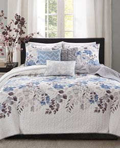 Madison Park Luna King/Cal King Size Quilt Bedding Set - Blue, Plum, Floral, Leaf – 6 Piece Bedding Quilt Coverlets – Ultra Soft Microfiber with Cotton Filling Bed Quilts Quilted Coverlet Cal King Size, King Size Quilt, Queen Size, Blue Bedding Sets, Comforter Sets, Brown Bedding, Blue Comforter, King Comforter, Bed In A Bag