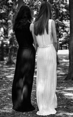 FOR THE BRIDESMAIDS || Black elegant long pleated dresses by Veronique Branquinho Resort 2016 on Moda Operandi || NOVELA...where the modern romantics play & plan the most stylish weddings...Instagram: @novelabride www.novelabride.com