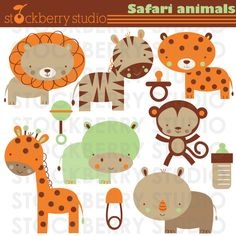 Items similar to Safari Animals Clipart Set - Jungle Animals Personal and Commerical Use Clipart Set on Etsy Jungle Animals, Baby Animals, Cute Animals, Pretty Drawings, Beautiful Drawings, Cute Clipart, Safari Party, Cute Animal Drawings, Classroom Themes