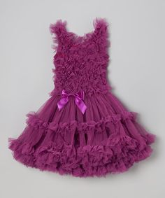 Look at this Popatu by Posh Grape Bow Ruffle Dress - Toddler & Girls on today! Toddler Girl Dresses, Flower Girl Dresses, Toddler Girls, Little Girl Fashion, Toddler Fashion, Pretty Outfits, Beautiful Outfits, Fashion Show Dresses, Baby Dress Design