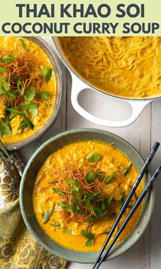 Taste this Authentic Khao Soi Recipe (Coconut Curry Soup) from our adventure to Thailand! Bold and fragrant Thai Noodle Soup is easy to make Coconut Curry Chicken Soup, Thai Curry Soup, Coconut Curry Soup, Curry Noodle Soup Recipe, Curry Noodles, Thai Noodles, Healthy Soup Recipes, Cooking Recipes, Thai Recipes
