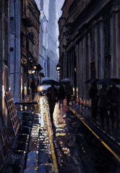 "Saatchi Online Artist: Rob Adams; Oil, 2011, Painting ""Wet City Morning"""