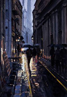 "Saatchi Online Artist: Rob Adams; Oil, 2011, Painting ""Wet City Morning"""
