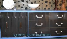 Periwinkle blue and ebony stained credenza Periwinkle Blue, Rarity, Credenza, Restoration, Furniture, Home Decor, Periwinkle, Decoration Home, Room Decor