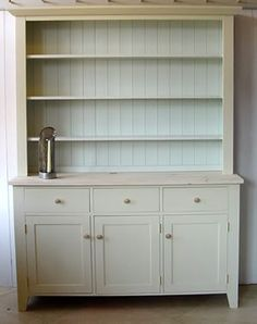 A kitchen dresser is a very reasonable purchase. Because especially in the kitchen, many devices and Diy Furniture Projects, Repurposed Furniture, Painted Furniture, Bedroom Furniture, Off White Cabinets, Diy Cabinets, Colored Cabinets, Kitchen Cabinets, Kitchen Dresser