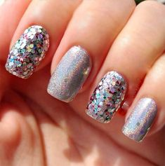 Holográfica Stiletto Nails, Gel Nails, Manicure, Nail Polish, Glitter Outfit, Glitter Nails, Pretty Nails For Summer, Bright Hair Colors, Nail Design Video
