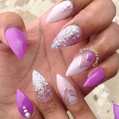 pretty purple stiletto nails