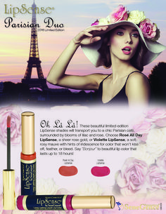 Introducing 2 brand new limited-edition LipSense shades, inspired by the beauty of Paris! Choose Rosé All Day LipSense, a sheer shimmering Rose Gold, or Violette LipSense, a soft rosy mauve with hints of iridescence. Both are absolutely gorgeous and will transport you to a chic Parisian café, surrounded by blooms of lilac and rose.