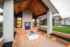 Custom luxury home builders nz outdoor living design inspiration. Modern Outdoor Living, Loft, House Entrance, Outdoor Rooms, Outdoor Ideas, Outdoor Decor, Home Builders, Custom Homes, Building A House