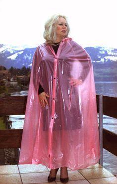 Billedresultat for susie plastique unique Pink Raincoat, Plastic Raincoat, Plastic Pants, Capes, Best Rain Jacket, Plastic Mac, Rain Cape, Rain Suit, Raincoats For Women