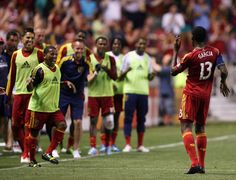 (right) Real Salt Lake forward Olmes Garcia (13) dances in front of the Real Salt Lake sideline after scoring a goal against the Los Angeles Galaxy during the second half at Rio Tinto Stadium in Salt Lake City on June 8, 2013.  Real went on to win the game 3-1. (Kim Raff  |  The Salt Lake Tribune)