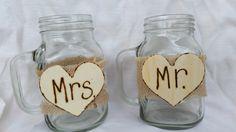 Mr & Mrs Wedding Jar Drinking Mugs by thefavorstation on Etsy