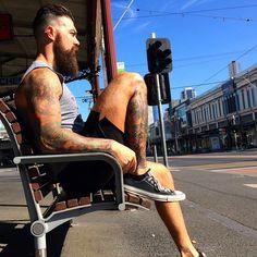 Dave Driskell - full thick dark beard and mustache beards bearded man men fitness tattoos tattooed mens' haircut hair style barber handsome #beardsforever