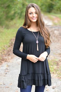 Double The Fun Black Ruffle Top 26.00 www.thepaisleyrooster.com
