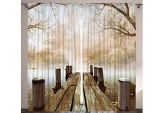 Ambesonne Curtains for Living Room, Fall Wooden Bridge Curtains Rustic Country Theme Home Decorations for Bedroom Kids Room Nature Picture Artwork 2 Panels Set, 108 X 84 Inch, Brown Yellow Green Bedroom Windows, Window Drapes, Drapes Curtains, Curtain Panels, Bedroom Drapes, 3d Living Room, Wooden Sliding Doors, Nautical Wall Decor, Nautical Bed
