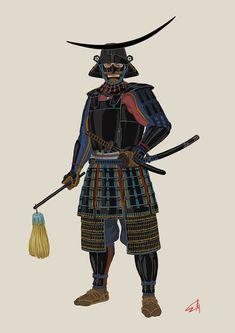 Kabuto Samurai, Samurai Weapons, Samurai Warrior, Japanese Art Samurai, Japanese Warrior, Japanese Art Prints, Japanese Drawings, Japanese History, Asian History