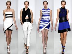 White, black and blue Klein  LFW Spring 2014 Trends: Asymmetry and Sportswear - Have a look at some of the most interesting highlights from the David Koma, Michael van der Ham, Erdem, Pringle of Scotland and Preen spring 2014 collections.