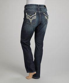 Love this Dark Wash Embroidered New York Straight-Leg Jeans - Plus by Vigoss on #zulily! #zulilyfinds