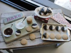 Dollhouse miniature making black and white cookies by Kimsminibakery on Etsy