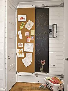 Fun way to cover up the electrical panel--perfect in a basement playroom