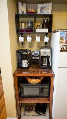 Put shelf on top of counter with microwave and other stuff next to fridge.