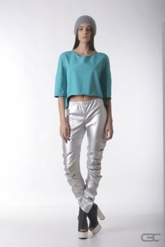 Crepe Black Collar silver leggings and warm sky blue top. Check out the online shop for details.