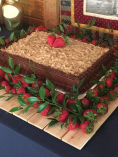 German Chocolate Grooms Cake With Strawberries