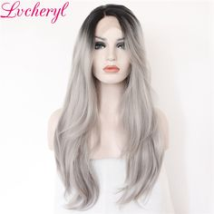 Hair Extensions & Wigs Beautytown Silver Grey Color Heat Resistant Hair Straight Blogger Daily Makeup Synthetic Lace Front Party Wigs For Holiday Gift