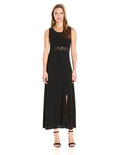 2d9a32d369a9 Star Vixen Womens Sleeveless Fit N Flare Stretch Ity Maxi Dress with Inset  Waist Black M * You can figure out more details at the link of the picture.