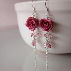 Maroon Rose Dangle Earrings Polymer Clay por beadscraftz en Etsy
