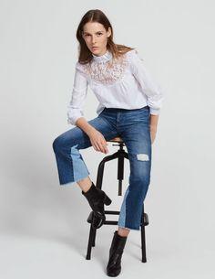 Top col montant plissé insert dentelle : Tops & Chemises couleur Blanc