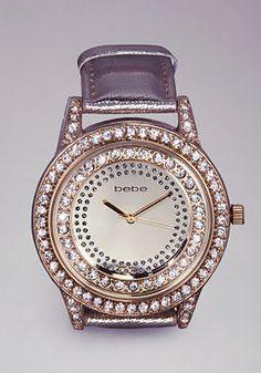 bebe Crystal Metallic Watch
