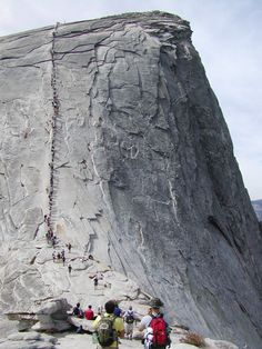 """Half Dome, Yosemite, California. This is when you're thinking """"holy sh, do I really want to do this?"""""""