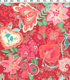 Smitten Valentine's Day Fabric Red Pink Hearts Flowers Love Birds on Red CW. Love this whole line.