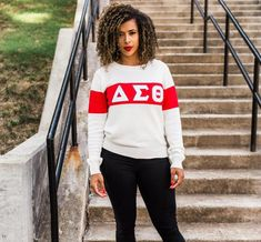 Fashionably Greek is the Ivy League of custom Greek apparel. Fashionably Greek offers Greek paraphernalia that can be worn for any occasion. We are authorized vendors for Alpha Kappa Alpha, Delta Sigma Theta, and Zeta Phi Beta Sorority Inc. Delta Sigma Theta Apparel, Design Nike Shoes, Red Chucks, Varsity Sweater, Custom Greek Apparel, Greek Clothing, Double Breasted Blazer, Color Block Sweater, Apparel Design