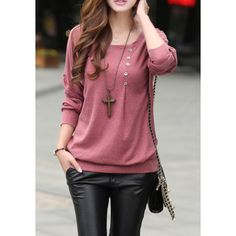 Casual Style Scoop Neck Long Batwing Sleeve Solid Color Loose-Fitting Women's T-Shirt, RED, L in Long Sleeves | DressLily.com