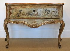 18th Century Venetian Painted Console | From a unique collection of antique and modern console tables at https://www.1stdibs.com/furniture/tables/console-tables/