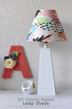 DIY Colorful Painted Lamp Shade ~ Land of Nod knockoff! I thought it looked a bit like Alisa Burke style too! I have GOT to do this in my home!