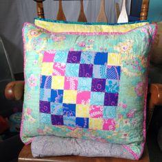 KT Quilts: Pillow Talk.  Scrappy Trip Reject Block