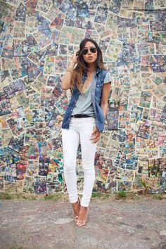 Calça branca+colete jeans
