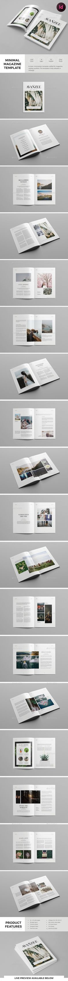 Minimal Magazine Template — InDesign INDD #modern #typography • Available here ➝ https://graphicriver.net/item/minimal-magazine-template/20792599?ref=pxcr