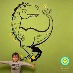 Amazing giant T-Rex Dinosaur Wall Sticker by E-Glue Design that makes all kids happy !