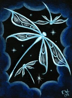 Fantasy Dragonfly Print featuring the painting Blue Crystal Winged Dragonflies by Elaina Wagner