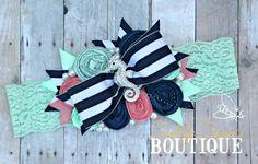 Rolled Rosette Headband, Nautical Headband, Mint and Coral, Mermaid Headband, Seahorse Headband, Beach Photo, Photo prop, OTT, OTT Headband